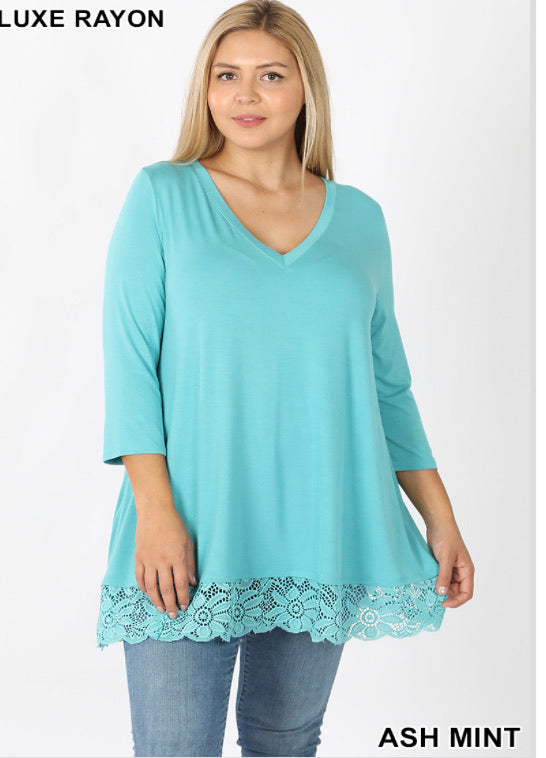 V-neck with Lace Detail