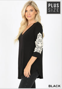 V-Neck Lace Patch Sleeve