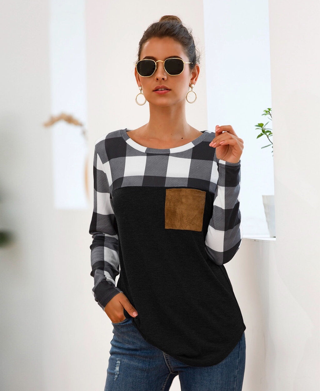 Plaid Patchwork Long Sleeve Tops