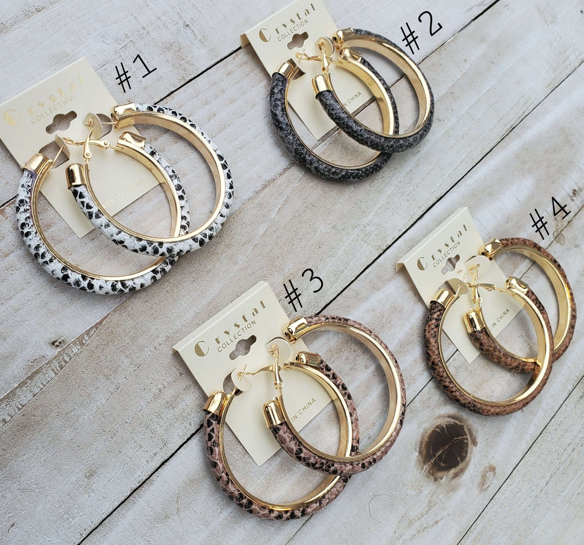 Snakeskin Print Hoop Earrings