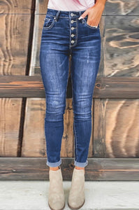 High Rise Button Front Jeans