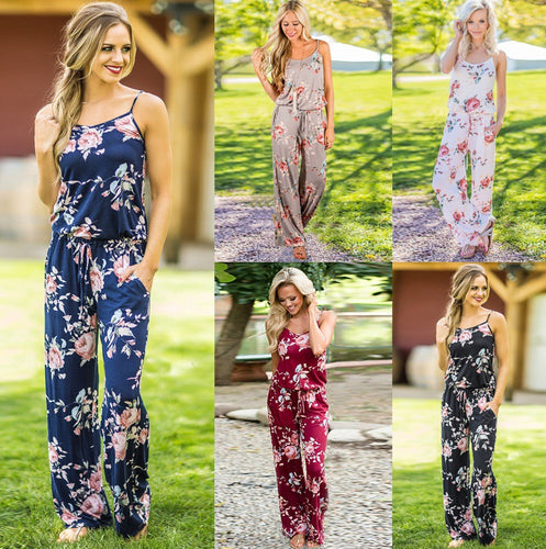 Sleeveless Drawstring Floral Jumpsuit