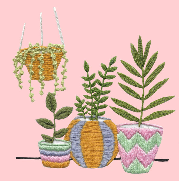 Plant Pots Embroidery Kit
