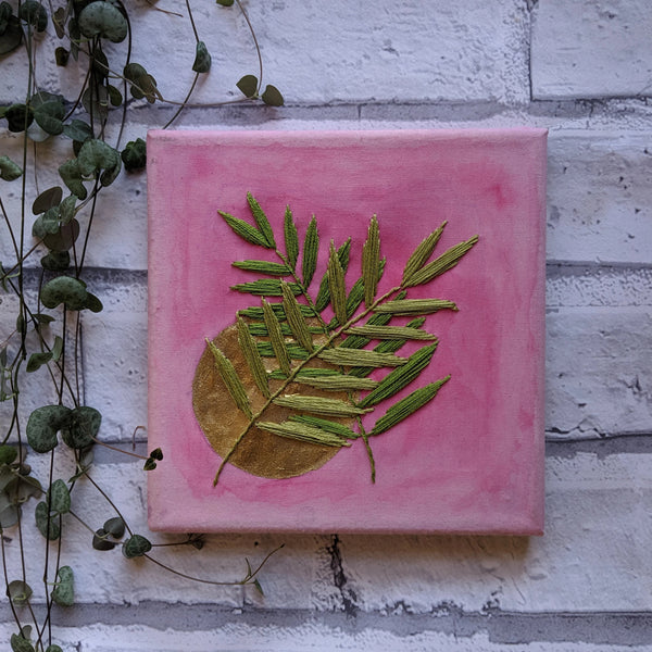 One Of A Kind Plants on Pink Embroidery & Watercolour on Canvas
