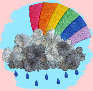 Rainbow and Raincloud Embroidery Kit