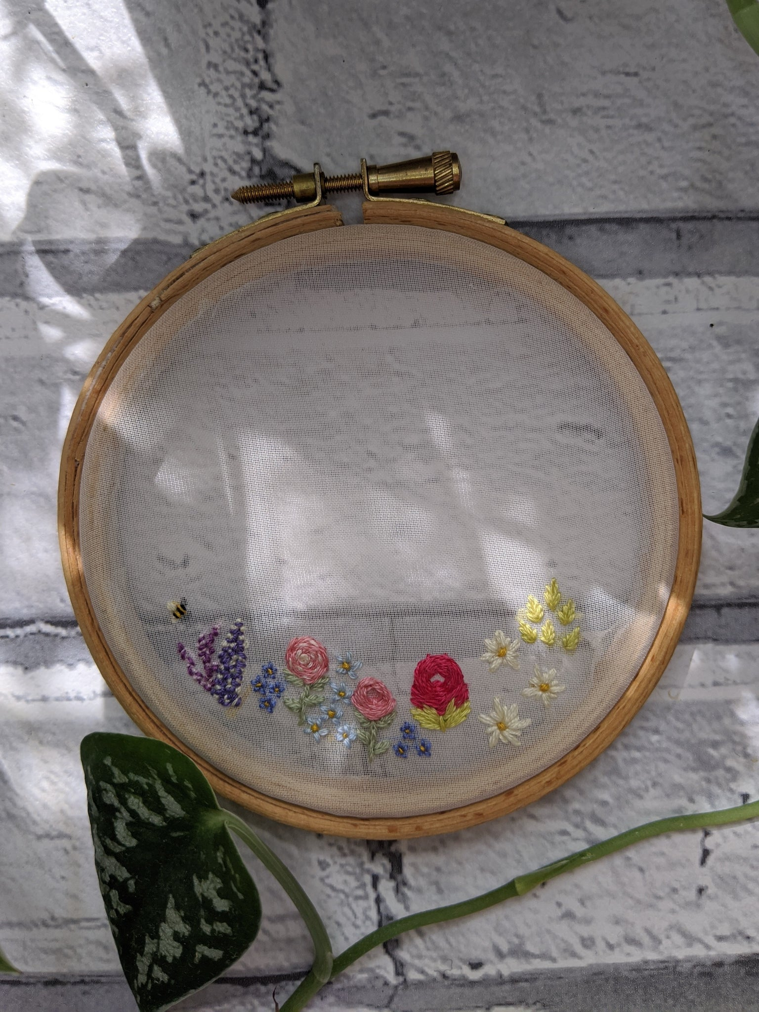 "4"" See Through Floral embroidery hoop"