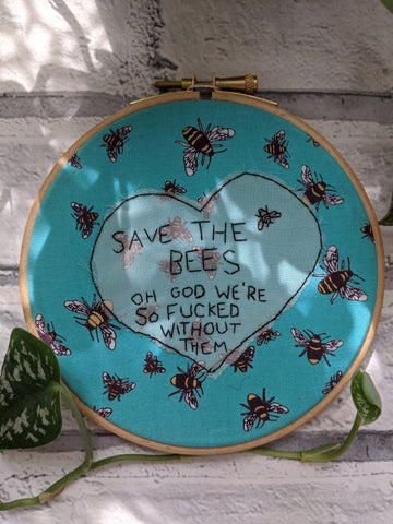 "5"" Save The Bees embroidery"