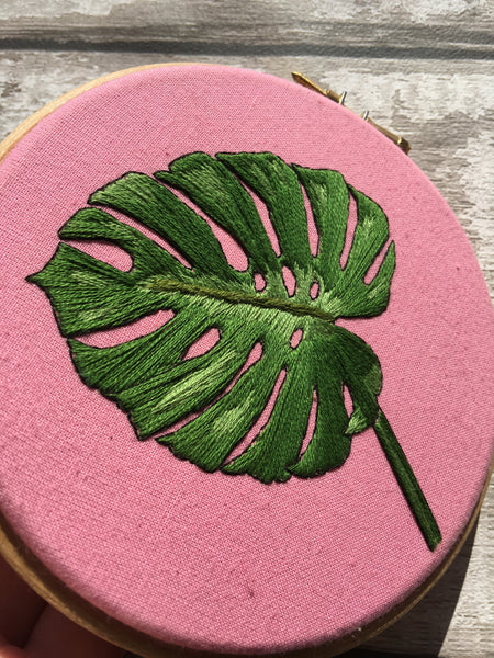 "5"" Monstera Leaf Plants On Pink embroidery"