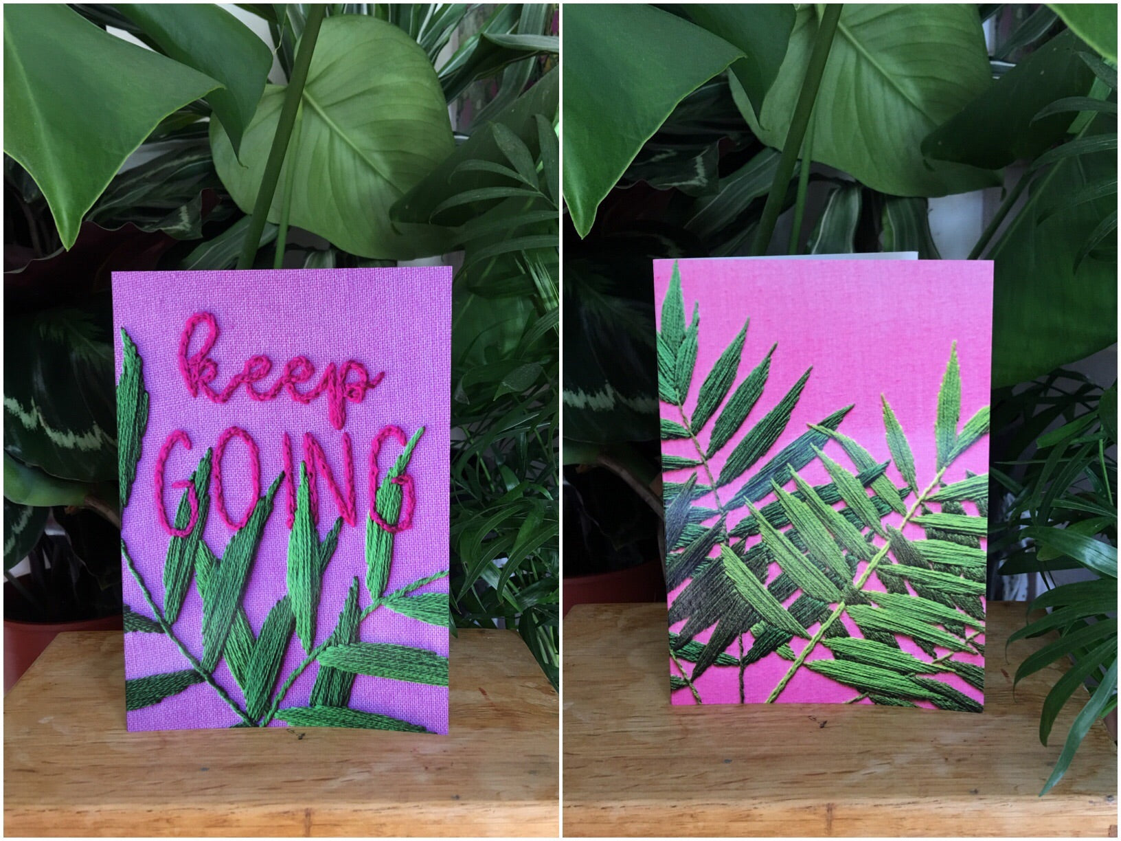 Plants on Pink greetings card