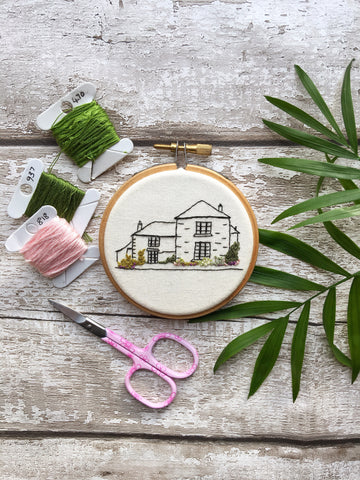 Personalised House Portrait embroidery