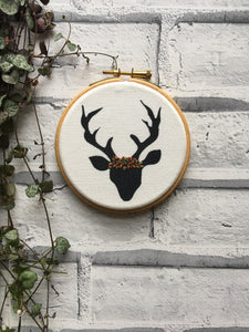 "4"" Winter Stag embroidery"