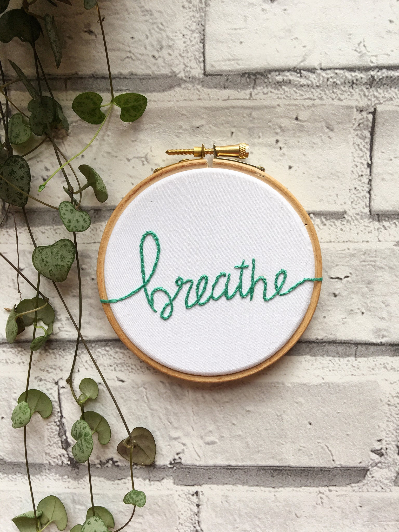 "4"" Breathe positive affirmations embroidery"