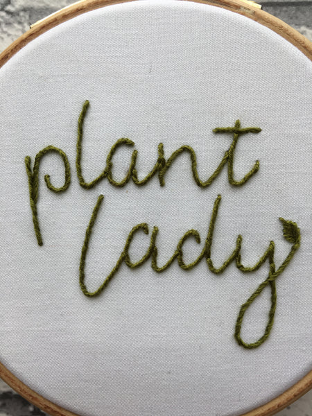 "4"" Plant Lady Embroidery"