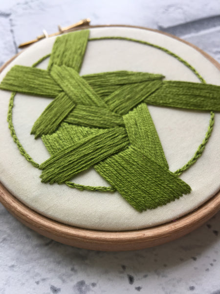 "4"" One of a Kind Abstract Embroidery in Green"