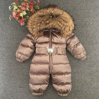 Winter Overalls Romper/jumpsuit Duck Down Real Fur collar Snowsuit