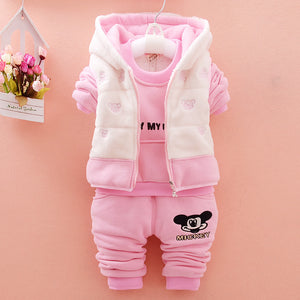 Fashion Baby Girl / boy Winter Cartoon Fleece Coat And T-shirt And Pants 3pcs tracksuit available in 3 colors