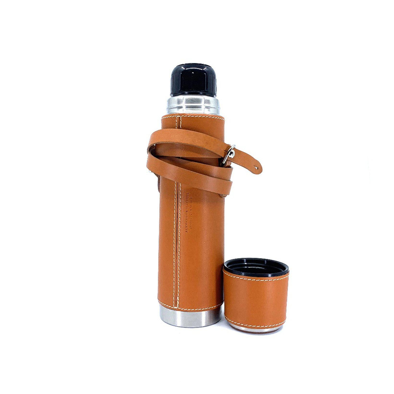 Insulated Bottle 500 cc leather coverd-Alexandre Mareuil-Conrad Hasselbach Shoes & Garment