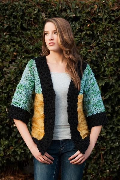Color Block Cardi Pattern Universal Yarn