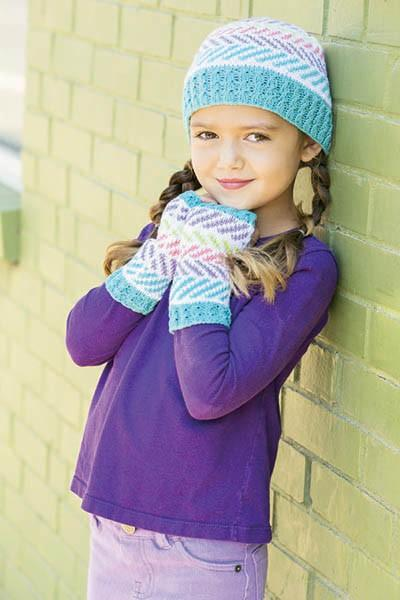 Playful Herringbone hat and Mitts Pattern Universal Yarn