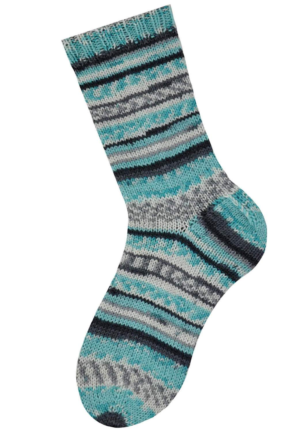 blue and gray striped sock knitted in Wacki Saki yarn