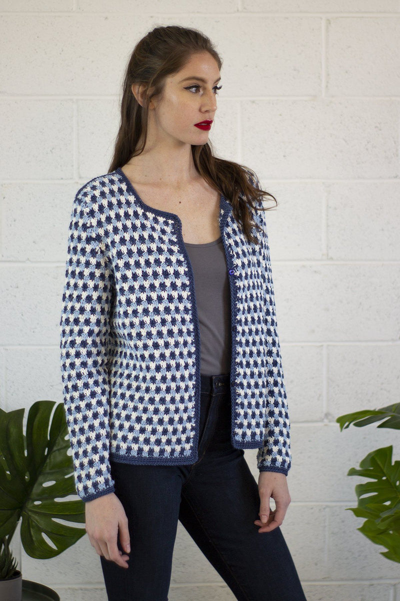 Blue Star Cardigan Pattern Fibra Natura