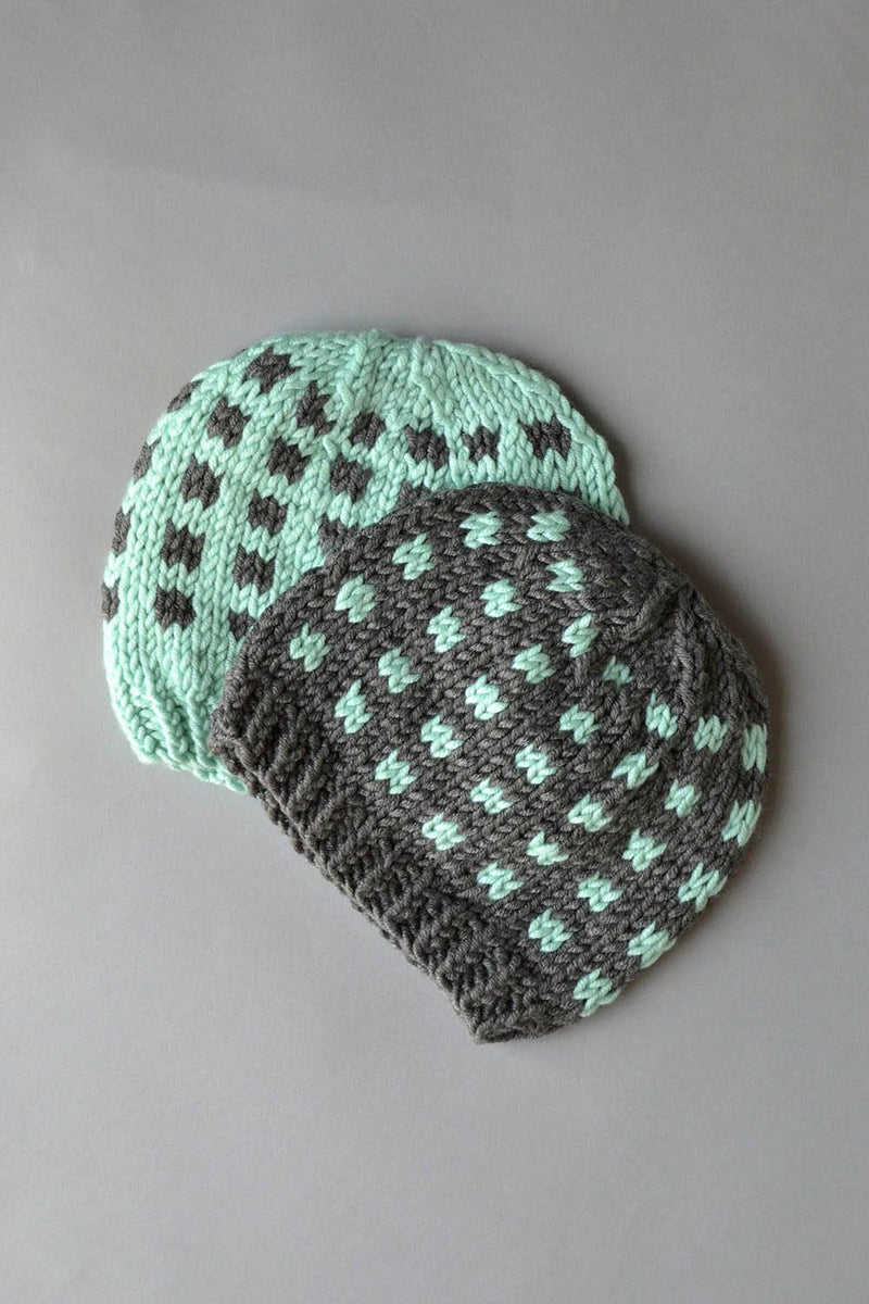 Coffee Beans and Sugar Cubes Hats Kit Universal Yarn Coffee Beans Hats 02 Aqua - UBHat02