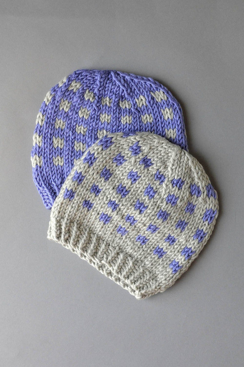 Coffee Beans and Sugar Cubes Hats Kit Universal Yarn Coffee Beans Hats 03 Periwinkle - UBHat03