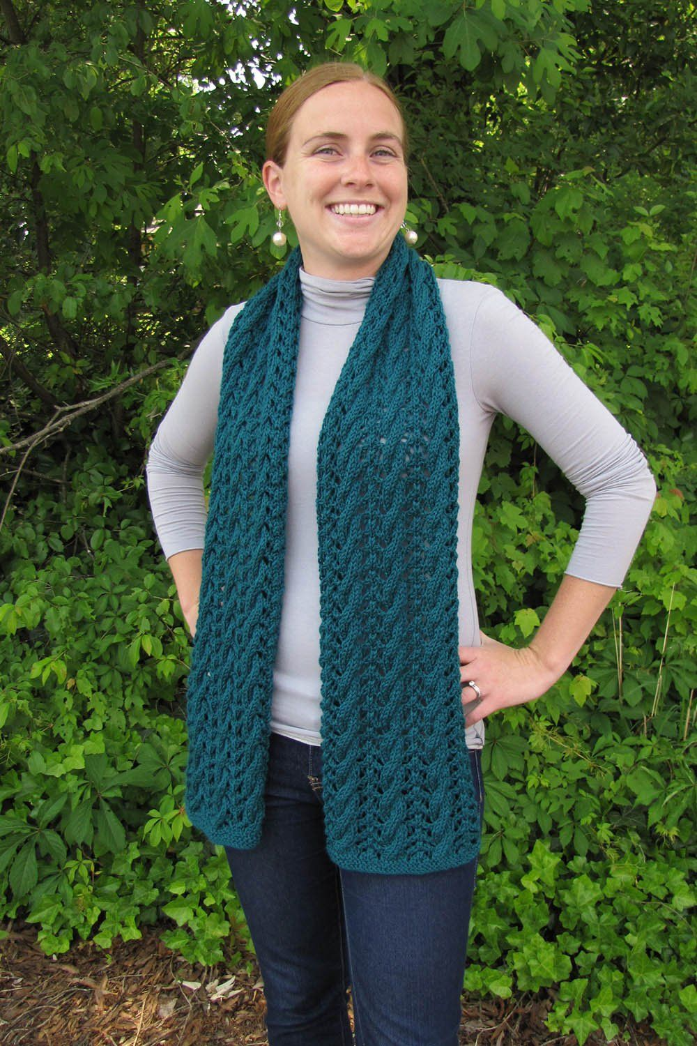 Green Lace Scarf Pattern Universal Yarn