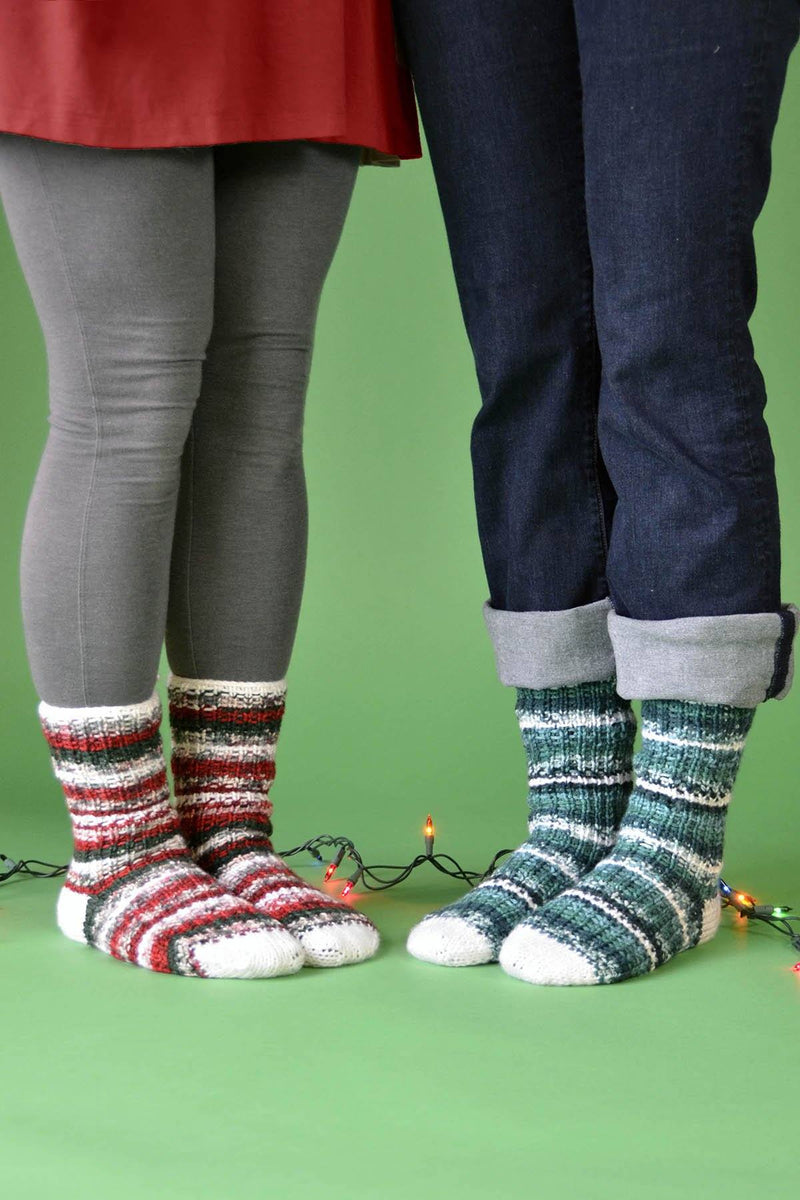 Holly Jolly Socks or Stockings Pattern Universal Yarn