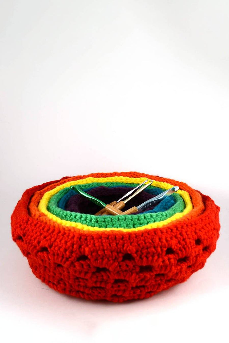 Rainbow Nesting Baskets Pattern Universal Yarn