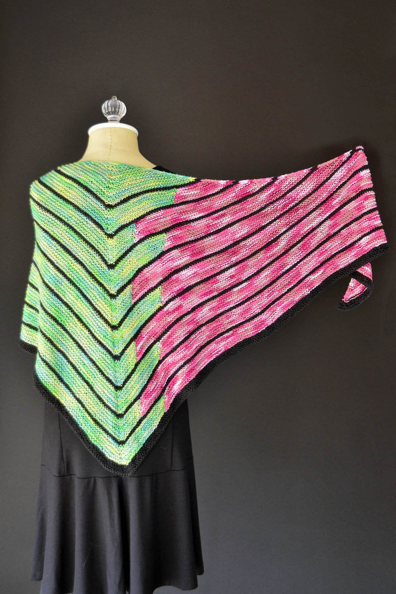 Staggered Shawl Kit Universal Yarn Staggered Shawl Green Pink - Stag03