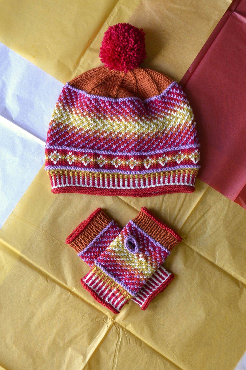 Dona Color Kits - Sunset Kit Universal Yarn Color Shift Hat and Mitts - Sunst01