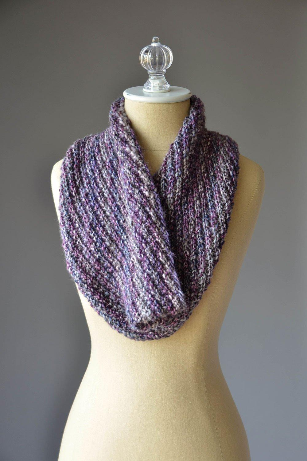 Easy knitted cowl pattern using 1 skein of Classic Shades Frenzy, a chunky yarn.
