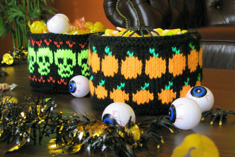 Neon Pumpkin and Skull Baskets Pattern Universal Yarn