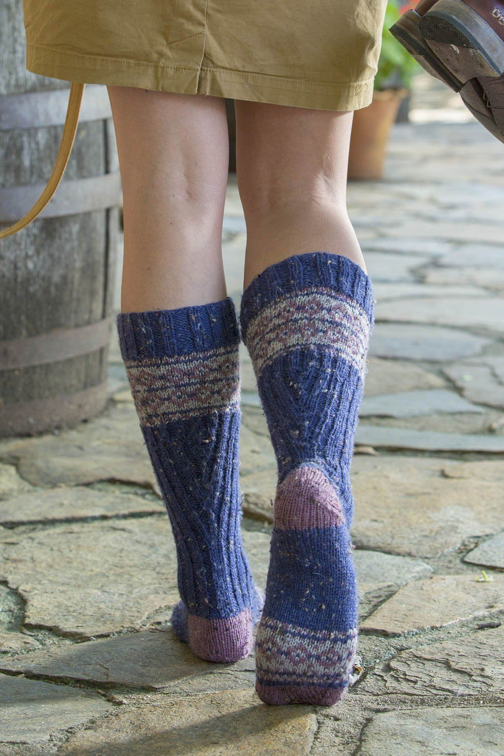 blue and mauve fair isle socks knit in Deluxe DK Tweed Superwash