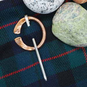 copper kilt pin brooch with silver pin 5 mm sterling copper and silver kilt pin brooch and dksilver packaging with cotton jewellery bag dksilver artisan Scottish Silver made by Daniel Killeen jewellery accessories for men bracelets, cuffs, kilts pins and contact for bespoke service