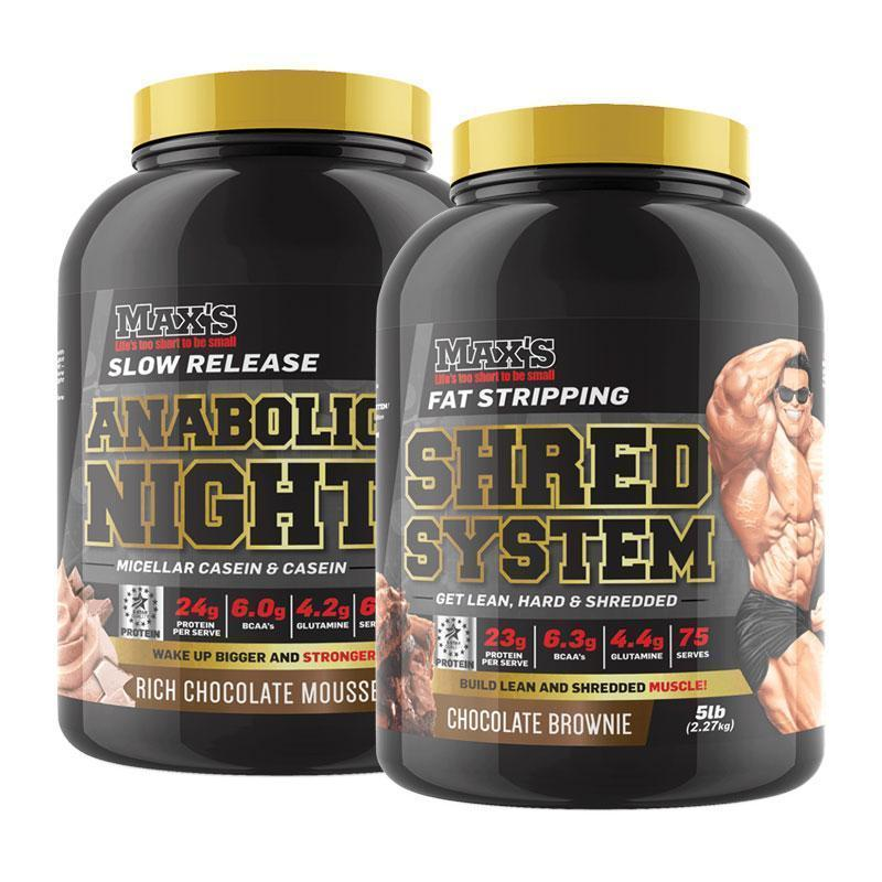 Anabolic Night (33 Serves) + Shred System (75 Serves) Bundle | Fat Burnerz