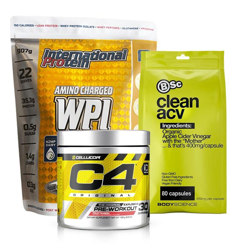 Amino Charged WPI + C4 Original Pre-Workout + Apple Cider Vinegar Bundle | Fat Burnerz