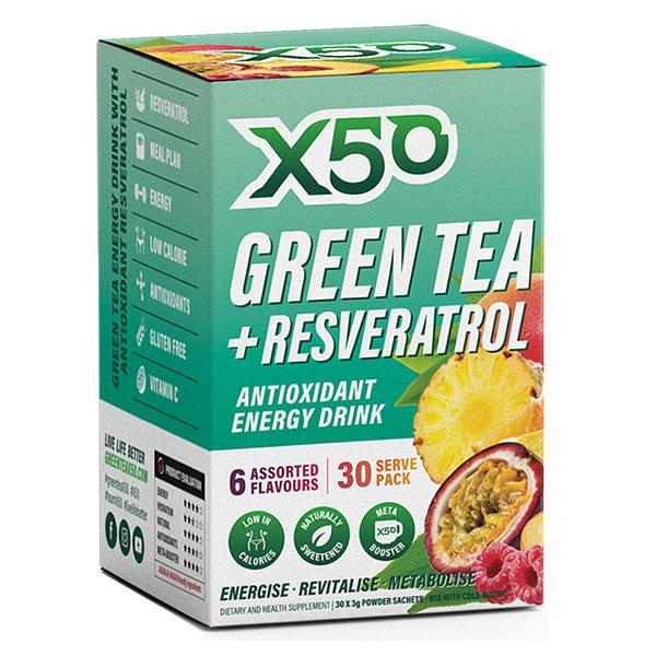 Green Tea + Resveratrol (30 serves) - X50 | Assorted