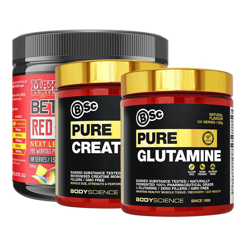 BetaPump Red Alert + Creatine + Glutamine Bundle