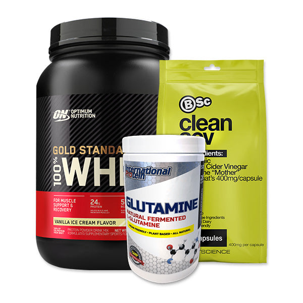 Gold Standard 100% Whey + Glutamine + Apple Cider Vinegar Bundle