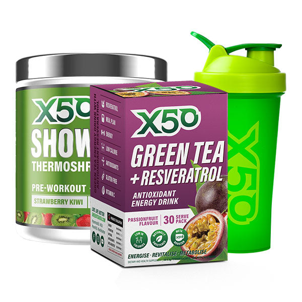 Showtime Thermoshred + Green Tea + Resveratrol (30 Serves) + x50 Shaker | Fat Burnerz