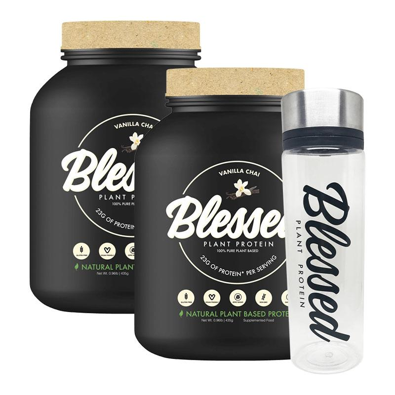 Blessed Protein (15 Serves) & Blessed Bottle Twin Pack - Clear Vegan | Fat Burnerz