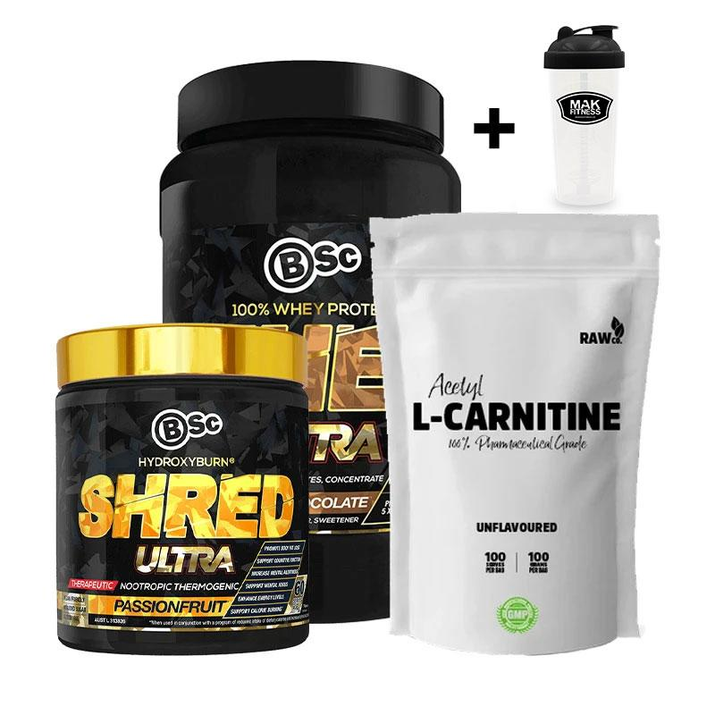 Whey Ultra + Shred Ultra + Acetyl L-Carnitine + MAK Shaker