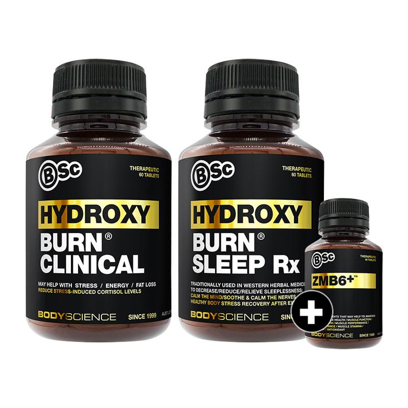 HydroxyBurn Clinical + HydroxyBurn Sleep Rx + FREE ZMB6 by BSc