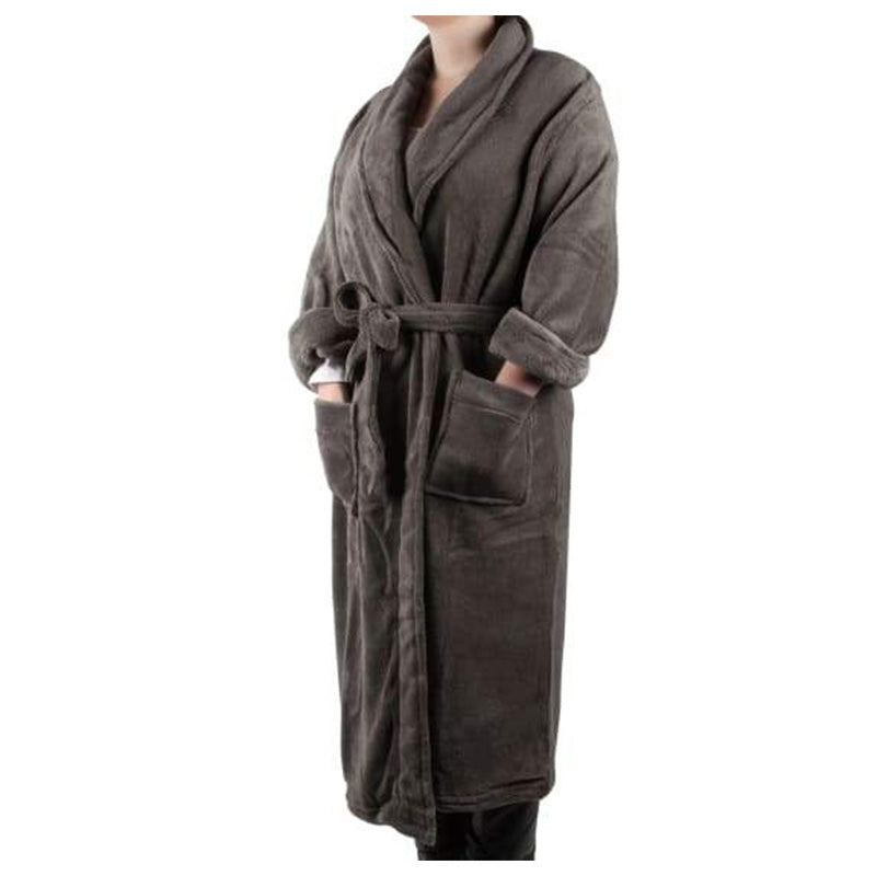 CHARCOAL PLUSH FLEECE BATHROBE