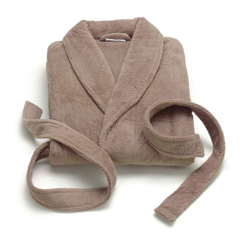 TAUPE PLUSH FLEECE BATHROBE