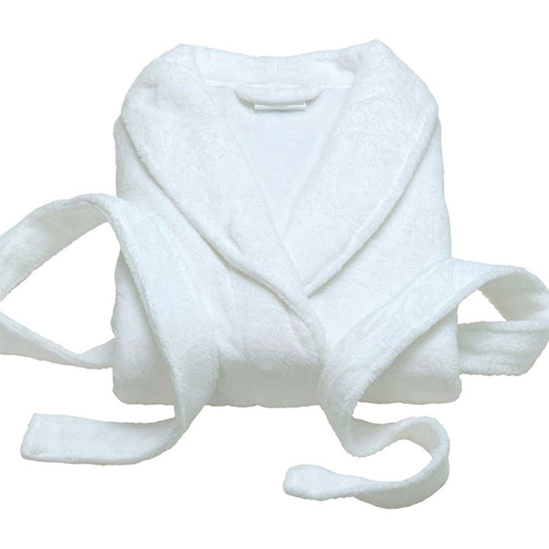 WHITE PLUSH FLEECE BATHROBE