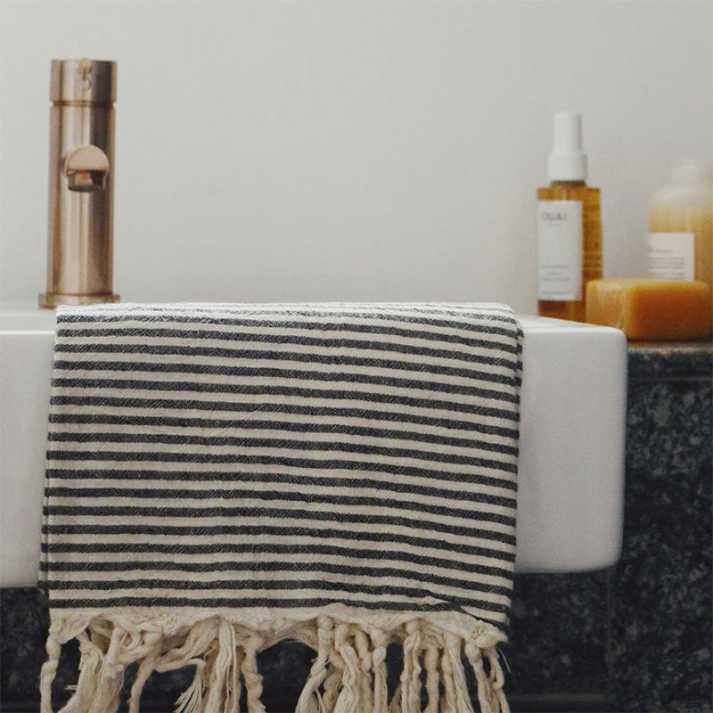 WOVEN COTTON TOWEL, CREAM & BLACK WITH SOLID TASSELS