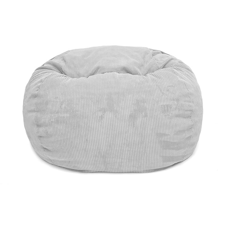 LIGHT GREY CORD VELOUR FATSAK BEANBAG